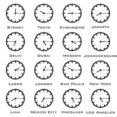 A minimalistic image of the clock with the time difference of the world capitals. Vector.