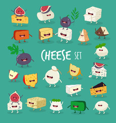 This is vector cheeses set. It is funny and happy piece of cheeses. You can use for cards, fridge magnets and stickers.