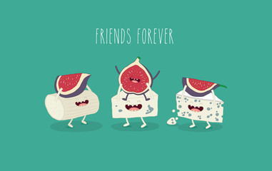 This is vector illustration. The funny Blue cheese with figs are friends forever. You can use for cards, fridge magnets, stickers.