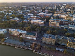 Aerial shot of River Street and downtown Savannah, Georgia.