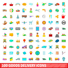 100 goods delivery icons set, cartoon style