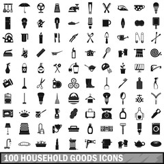 100 household goods icons set, simple style