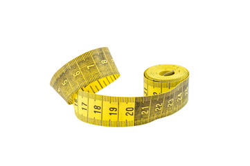 Measuring tape isolated on a white background.