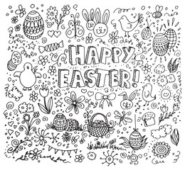 Happy easter doodles on white background