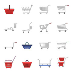 Shopping cart icons set, cartoon style