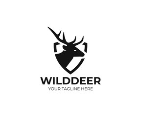 Deer and shield logo template. Stag vector design. Elk logotype
