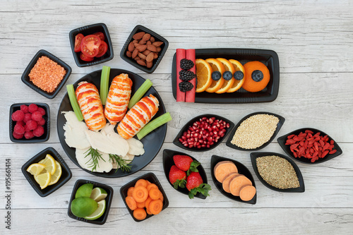 Diet Health Food Dieting Concept With High Protein Seafood And