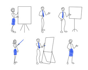 Collection of stick figures in presentation poses. Doodle style men and women are showing to something. Vector illustration set