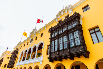 Facade of the building of the municipality of Lima, Peru