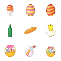 Happy easter gifts icons set, cartoon style