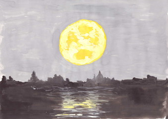 Abstract gouache drawing: a big yellow moon over a night city.
