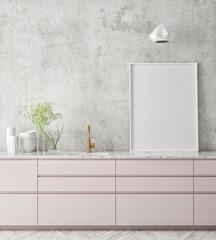 mock up poster frame in kitchen interior background, Scandinavian style, 3D render, 3D illustration