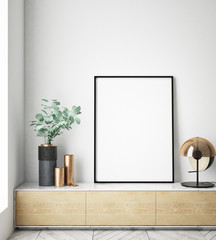 mock up poster frame in interior background, Scandinavian style, 3D render, 3D illustration