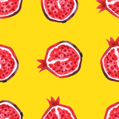 Pomegranate. Seamless Tropical pattern of exotic fruit. Hand drawn Abstract background