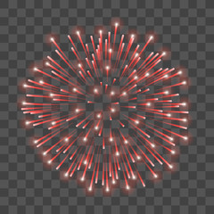 Beautiful red firework. Bright salute isolated transparent background. Light decoration firework for Christmas, New Year celebration, holiday, festival, birthday card. Vector illustration