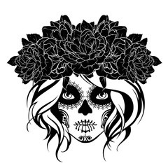 Skull girl in a flower wreath. Black and white illustration.
