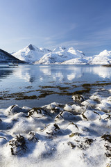 Winter Landscape with Snow Covered Mountains, Lyfjord, Kvaloya Island, Troms, Norway