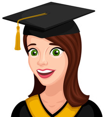 Vector illustration of a smiling, happy female graduate.
