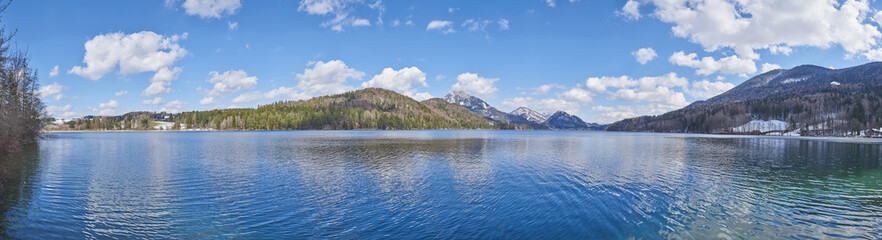 Panoramic of Fuschlsee with Mountains in the background in Early Spring, Austria