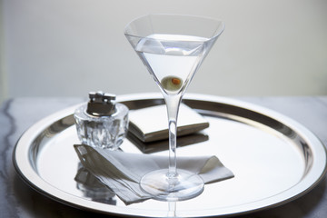 Martini with an Olive on Silver Platter, Studio Shot
