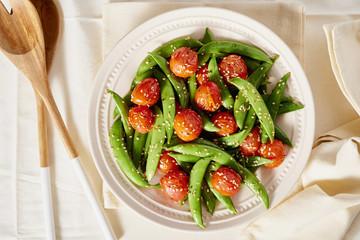 Snap Pea and Cherry Tomato Stir Fry