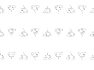 Seamless pattern on a white background with black silhouettes of cups of coffee