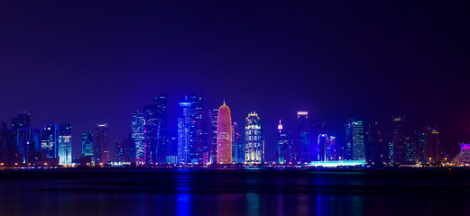 Night Al Dafna - seaside district of the Qatari capital Doha located on the Persian Gulf.