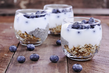 Healthy Kefir Yogurt and Chia Parfait