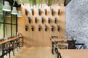 cafe interior design modern  vintage  style for relax time background image.