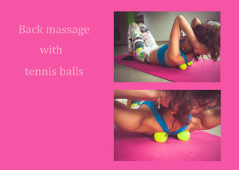 woman practice self  back massage with tennis balls for nack and shoulders pain relief