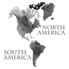Watercolor illustrated world map parts like North and South America painted in black ink color