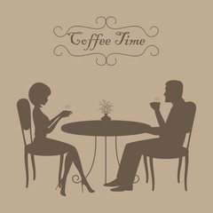 Coffee time concept. There are silhouettes of man and woman during coffee time in the picture. A young man and a young woman are sitting at a table and drinking coffee. Vector image in brown color