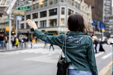 Woman walking on New York streets