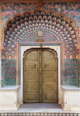 Paintings on a door in a palace in Jaipur, India