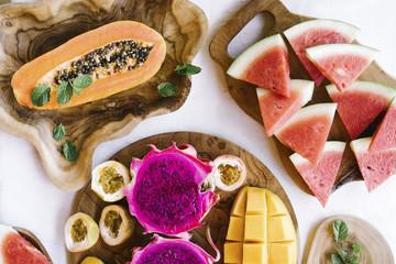 Bright assortment of exotic fruit