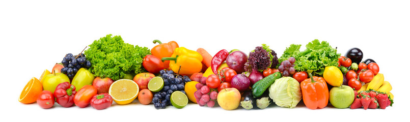 Photo sur Toile Légumes frais Panorama bright vegetables and fruits isolated on white
