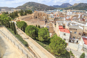 City and roman theater view,Cartagena,Spain.