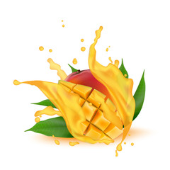 Juice milk yogurt mango cubes splashing. Juicy mango splash packaging template