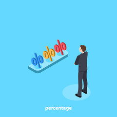 a man in a business suit stands in front of a shelf on which are percentages of different colors, an isometric image