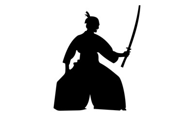 the silhouette of a female ninja with a sword
