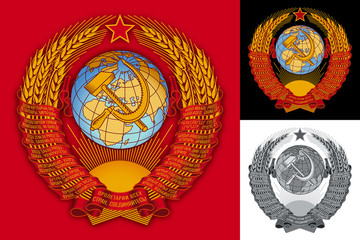 USSR (Soviet Union) coat of arms. Vector reconstruction set - gradient version with shades, flat and gray-scale versions.
