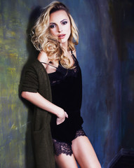 young blond woman  in fairy luxury interior total wealth, rich l