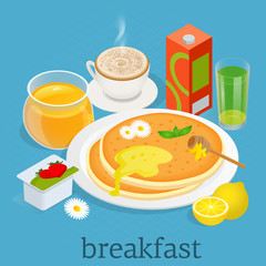 Isometric. Breakfast and kitchen equipment icons set. Breakfast served with yoghurt, coffee, juice, pancakes with berries and maple syrup. Balanced diet. Vector illustration