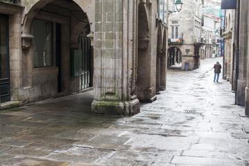 Street view, historic center of Santiago de Compostela,Spain.