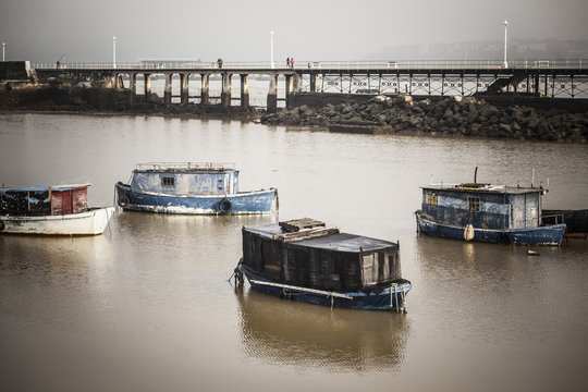 Old fishing boats in Nervion river.Santurtzi,Basque Country,Spain.