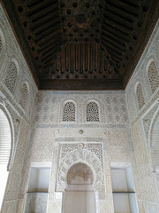 Roof inside a Nasrid Palace in the Alhambra, Granada, Andalucia, Spain