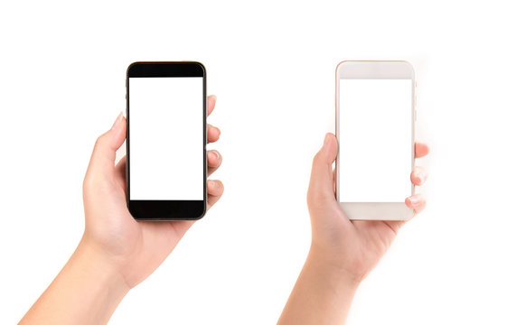 Woman hand holding black and smart smartphone on white background.