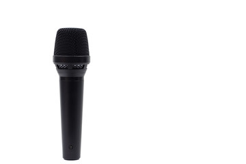 Professional vocal microphone of black color is isolated on white background