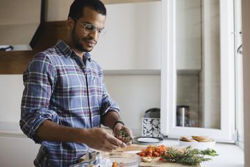 Man preparing a vegetarian meal