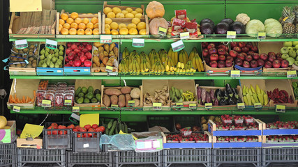 Fruits and Vegetables in Shelf